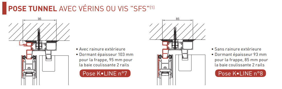 Pose tunnel avec vérin ou vis SFS